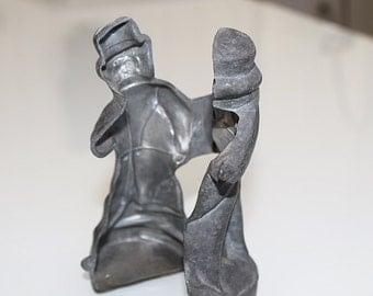 Vintage Pewter Ice Cream Mold, Victorian Man