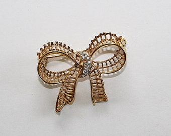 AS IS Vintage Gold Bow Brooch with Rhinestones, JW146