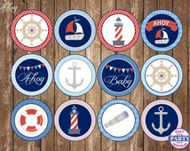SALE Nautical cupcake toppers, Instant Download, red and blue, Baby shower, anchor, printable decor, sailing, nautical, boats, coordinating