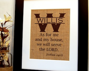 Joshua 24, As for Me and My House, We Will Serve the Lord, Burlap Print, Housewarming, Wedding, or Anniversary Present, Christian Art