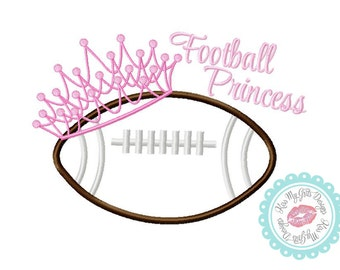 Football Princess Crown and Football  Machine Embroidery Applique Design
