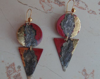 Copper earrings, colored fire