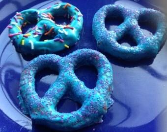 Blue Chocolate Dipped Large Pretzels-1 Dozen Fun Party Favors