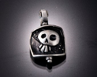 Sterling Silver Skull Pendant | Day of the Dead Necklace