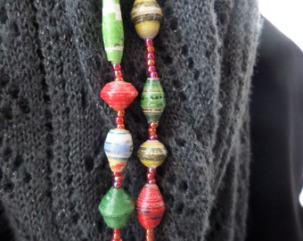 "Rolled Paper Beaded Necklace - Multi/Green - 52 to 64"" - Support Uganda Missions"