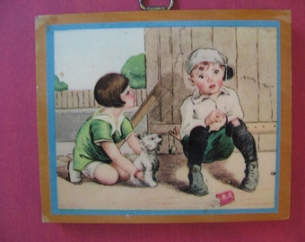Vintage Wooden Plaque Children with Dog 1930's Wall Decor Small