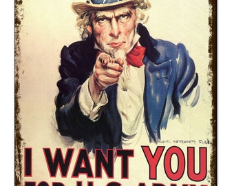 I Want You Uncle Sam Us Army Vintage Metal Sign Retro Tin Plaque Advert