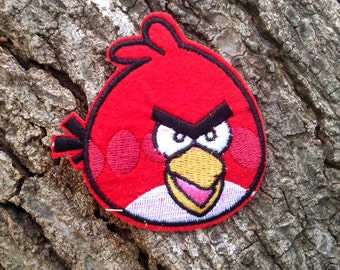 Iron on Sew on Patch:  Angry Bird (red)