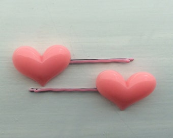 Pair of large pink heart hair slides, bobby pins, kirby grips