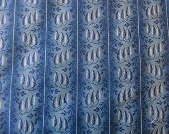 Blue Leaves 'Wallpaper' Fabric  Print 343