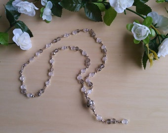 Handmade, long glass crystal necklace