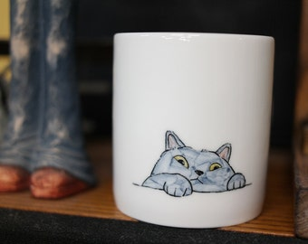 Hand painted animal mug cup - Cute  mug cup -Cat  mug cup 3