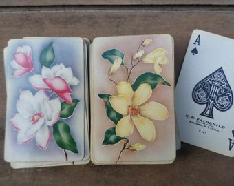vintage double deck of Playing Cards ANTIQUE  FLOWERS