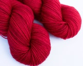 SALE Crimson Rose Hand Dyed Sock Yarn Superwash Wool Nylon Blend Blood Red Semi-Solid Autumn Christmas Yarn Fingering Weight