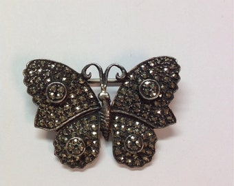 Vintage Sterling Silver Marcasite Butterfly Brooch, Pin