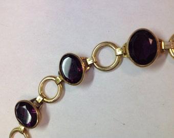 Vintage Gold Filled Faux Amethyst / Garnet Link Bracelet