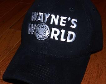Waynes World Hat Garth Wayne Campbell Wayne's Halloween costume embroidered logo black cap