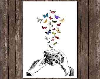 housewares home decor - butterflies art, print illustration 8x10 A4