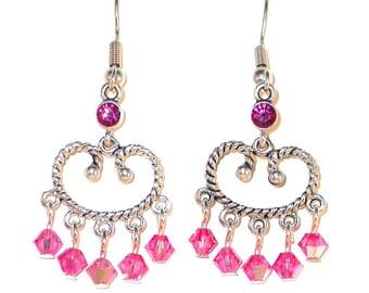 Crystal EARRINGS Swarovski Elements Silver Chandelier Earrings ROSE PINK