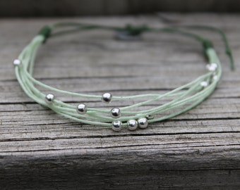 Mint Julep - Adjustable Waxed Linen Bracelet with Sterling Silver Beads