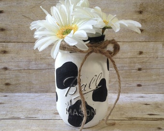 Cow Painted Mason Jar