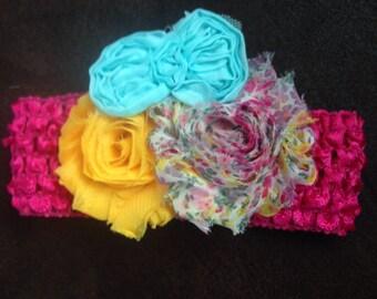 Shabby Chic Flower crochet headband with Teal Bow