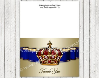 Prince Thank You Cards, Royal Baby Shower