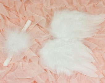Newborn Angel Wing and Headband Set, Marabou Puff Headband, Newborn Photo Prop