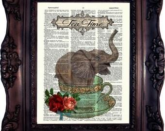 ELEPHANT Print Elephant Decor  Vintage Elephant Book Page VINTAGE Dictionary BOOK Print Elephant Wall Art Tea Time Elephant Geekery  C 553