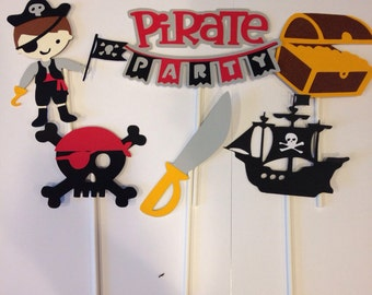 12 pirate boy cupcake toppers