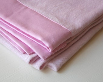 "Baby Blanket -Organic Cotton Fleece (Soft Pink) -Large 35""x53"" Made in USA"