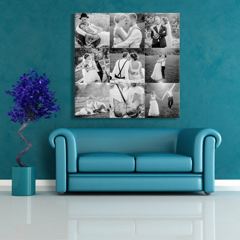 foto auf leinwand foto collage poster hochzeit fotocollage. Black Bedroom Furniture Sets. Home Design Ideas