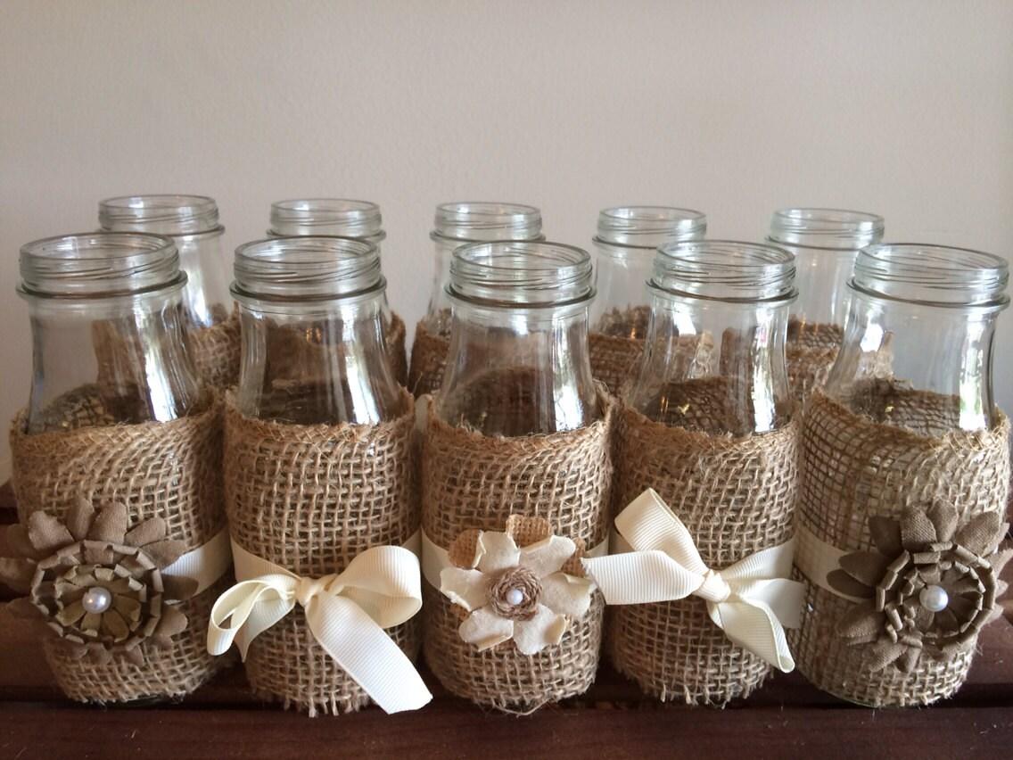 10 rustic wedding milk bottles country by katierosecreationz for Glass bottle centerpiece ideas