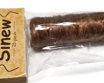 Artificial Sinew - 70lb strength - Bobbin Size - 20 yards -Brown in Color - Rendezvous, Pow Wows, & Native American Jewelry