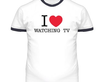 I Love Heart Luv Watching Tv Funny T Shirt