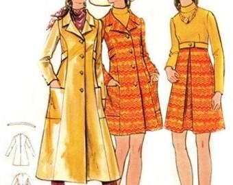 Butterick 5925 High Waisted Dress & Coat / ca. 1970 / SZ8 UNCUT