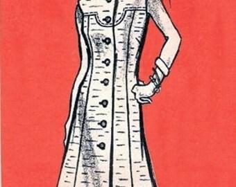 Mail Order 9336 Misses' Fashionable Dress 1970's / SZ14.5 UNCUT