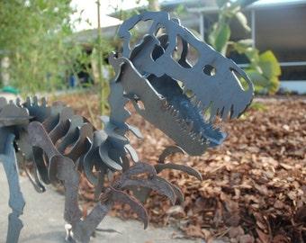 Dinosaur Tyrannosaurus in 3D Steel LARGE, Plasma Cut, Yard Sculpture, Puzzle, Jurassic, Metal Dinosaur Fossil