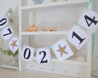 Save the Date Banner with Starfishes / Any color of your choice!