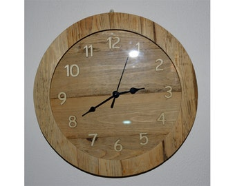 Rustic clock with glass and wooden numbers-Mod. HELSINKI