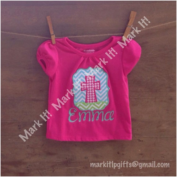 Cross applique shirt with name by markitgifts on etsy for Applique shirts for sale