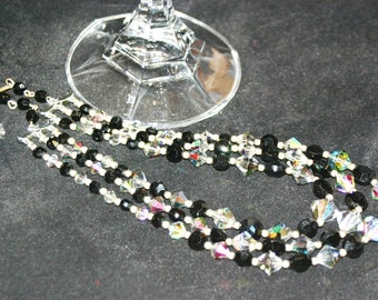 Magnificent Multi-Strand Vintage Antique 1940's Aurora Borealis and Black Necklace