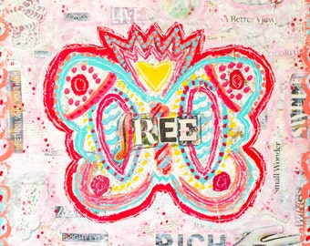 Sale-Free as a Butterfly-Mixed Media Art Print