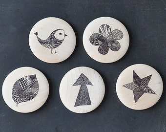 Wooden magnets - Zendoodle