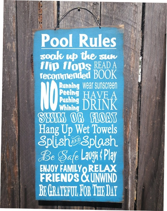 Pool Sign Pool Decor Pool Rules Sign Pool By