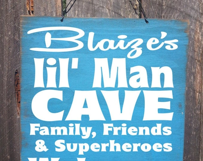 personalized lil man cave sign, custom lil man sign, boys bedroom sign, nursery decor, 37
