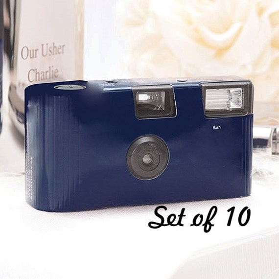 10 Disposable Cameras Wedding Favor Navy Blue Camera