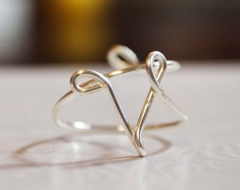 "initial ""V"" wire wrapped ring"
