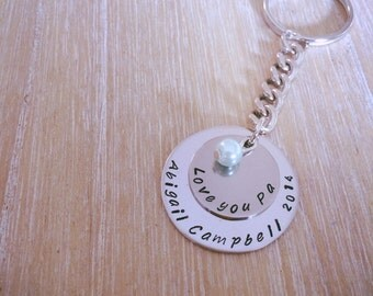 Personalised Keyring/Keychain. Hand Stamped.