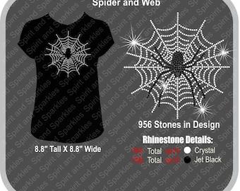 Spider Web Rhinestone T-Shirt, Tank or Hoodie